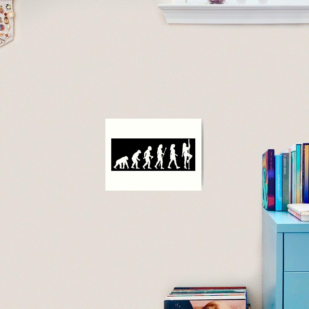 Funny Pole Dancing Stripper Evolution Art Print