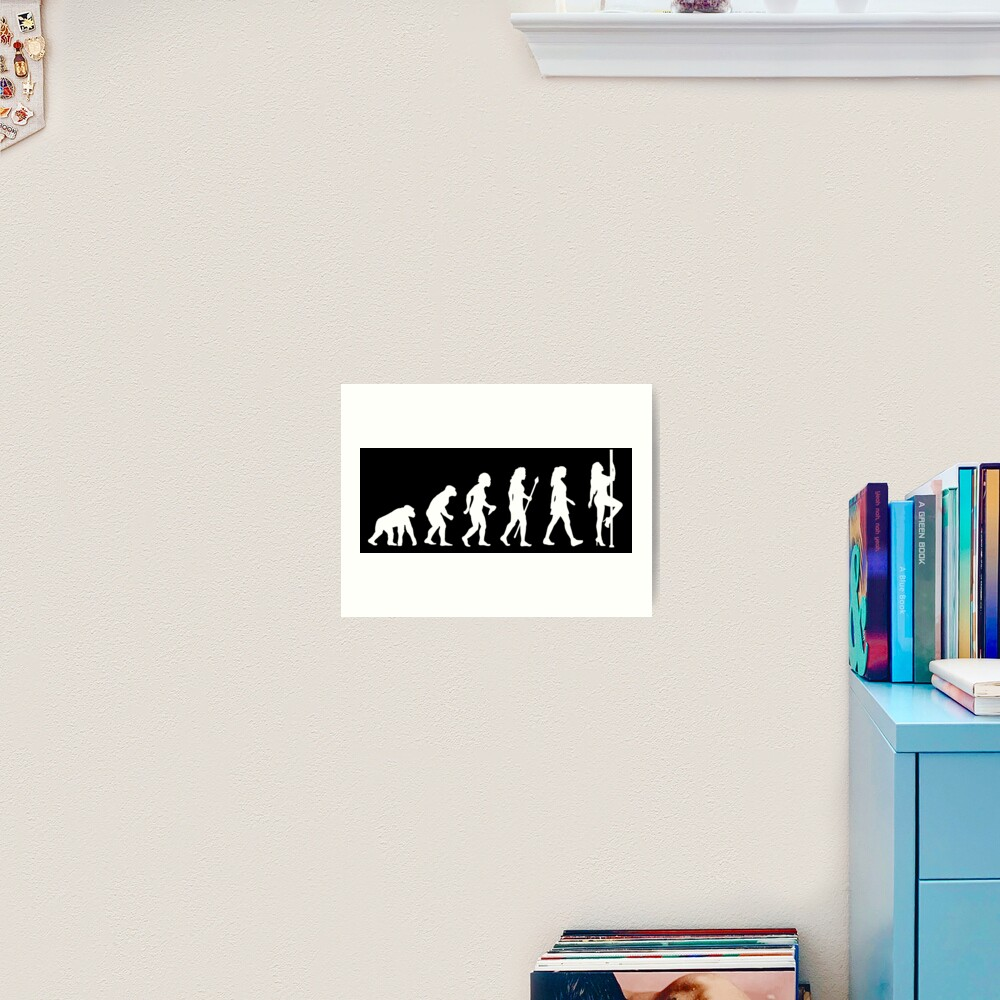 Funny Pole Dancing Stripper Evolution Art Print