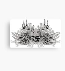 Laughing vintage Dead Skull with eagle wings Canvas Print
