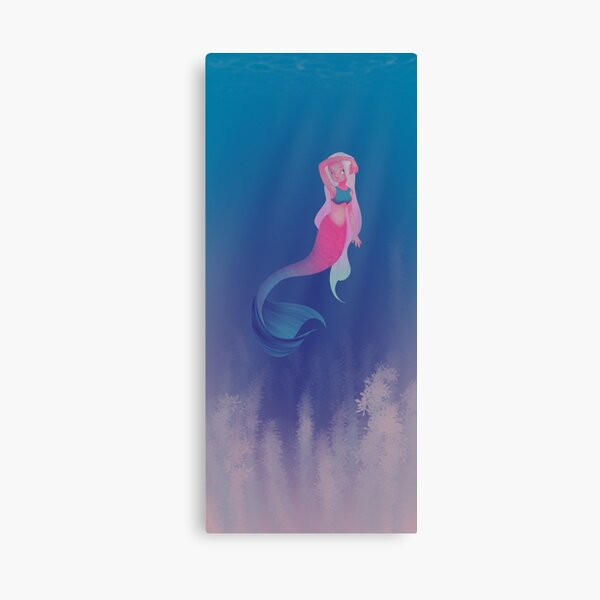 Pink Mermaid (with background) Canvas Print