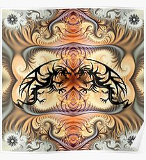 Dragon Spirals and tribal tattoo Dragons Poster