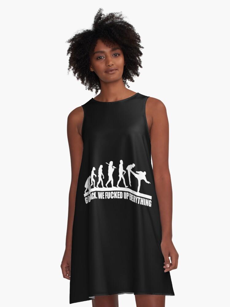 Funny Human Evolution A-Line Dress Front