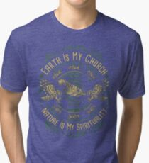 NATIVE AMERICAN EARTH IS MY CHURCH NATURE IS MY SPIRITUALITY Tri-blend T-Shirt