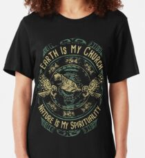 NATIVE AMERICAN EARTH IS MY CHURCH NATURE IS MY SPIRITUALITY Slim Fit T-Shirt