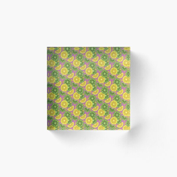 Sliced lemon and lime pattern Acrylic Block