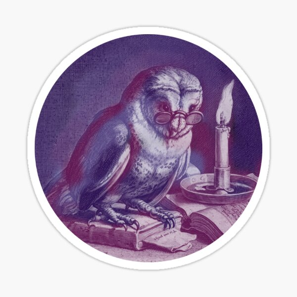 Owl with Glasses and Books Sticker