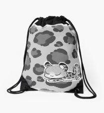 Sleepy Snow Leopard Drawstring Bag