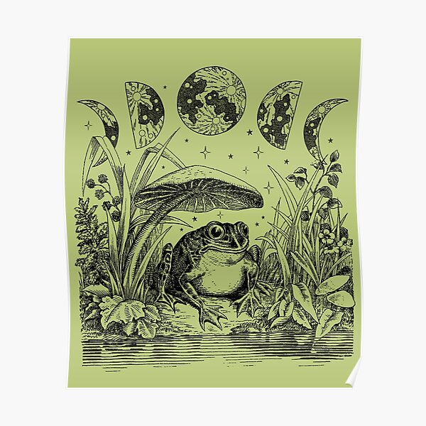 Cute Cottagecore Aesthetic Frog Mushroom Moon Witchy Vintage Pastel Green Poster