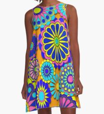 Flower Power Retro Style Hippy Flowers A-Line Dress