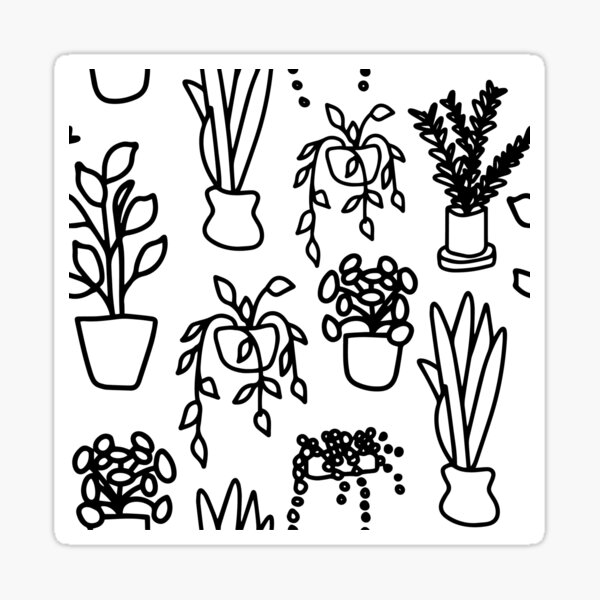 Common Houseplant Doodle Black and White Repeating Pattern Sticker