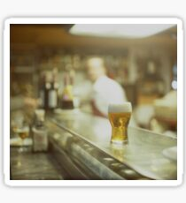 Glass of beer in Spanish tapas bar square Hasselblad medium format  c41 color film analogue photograph Sticker