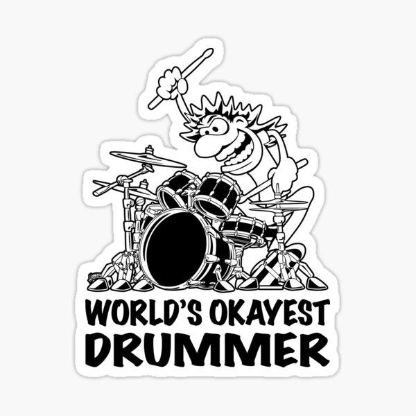 World's Okayest Drummer Cartoon Illustration by Jeff Hobrath Sticker