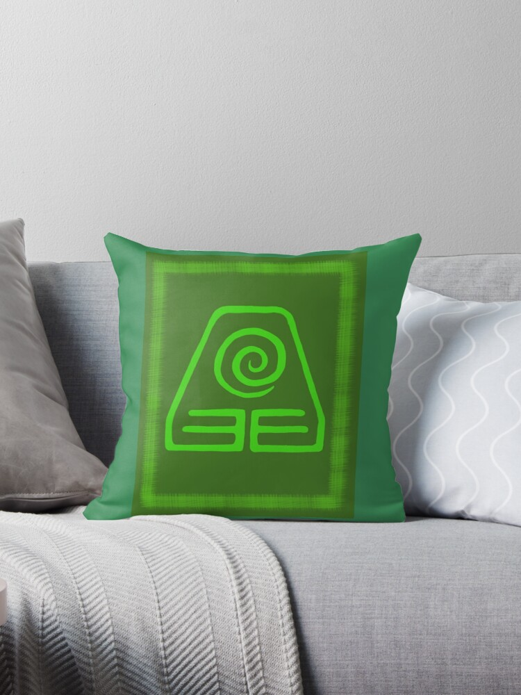 Avatar The Last Airbender Earth Kingdom Symbol Throw Pillows By
