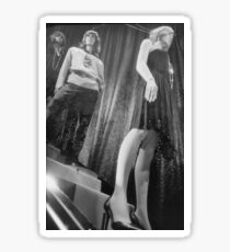 Shop dummy female mannequins black and white 35mm analog film photo Sticker