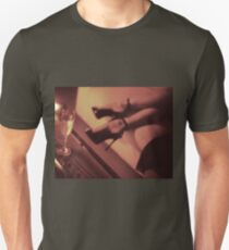 Sexy young lady in stiletto high heel shoes and glass of champagne Unisex T-Shirt