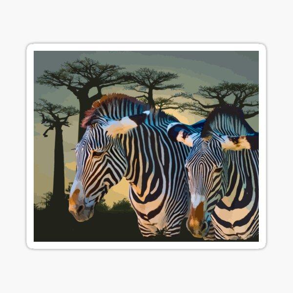 Amazing Animals: Zebra Sunset in Africa Sticker