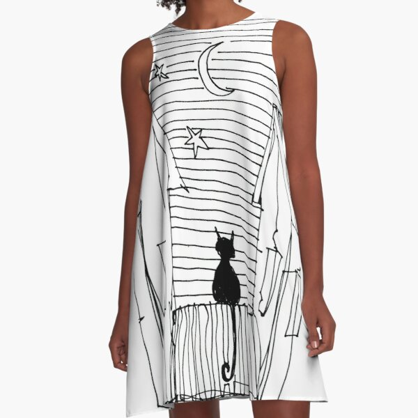 Cat and moon A-Line Dress