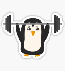Penguin Weightlifting Sticker