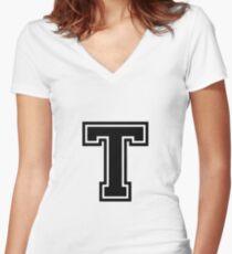 """Letter """"T""""  - Varsity / Collegiate Font - Black Print Women's Fitted V-Neck T-Shirt"""