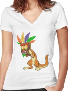 Aku Aku and Daxter  Women's Fitted V-Neck T-Shirt