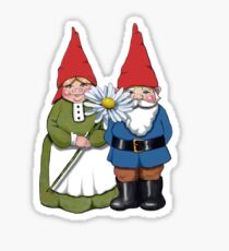Gnome Couple with Daisy, Whimsical Fantasy Art Sticker