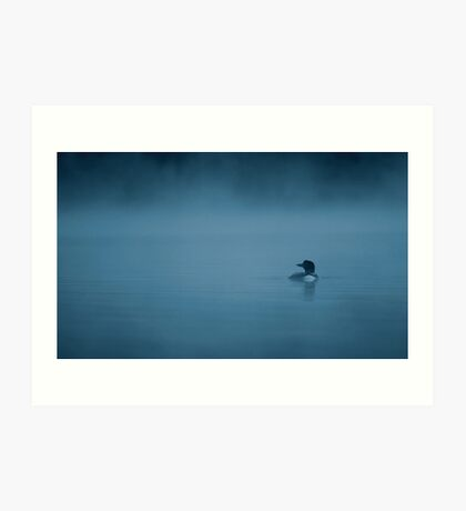 Common loon in blue fog Art Print