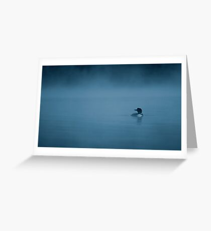 Common loon in blue fog Greeting Card
