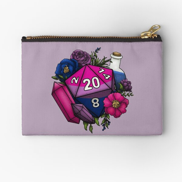 Pride Bisexual D20 Tabletop RPG Gaming Dice Zipper Pouch