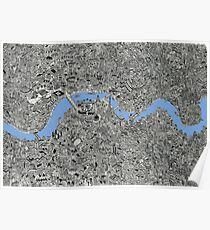 London Map Drawing Poster