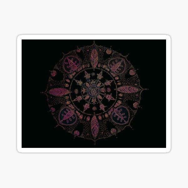 Pink Annona on Black Aqua Sticker