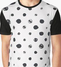 Black messy polka dot on white - pattern Graphic T-Shirt