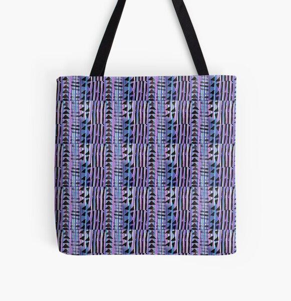 Kente Cloth Pattern Stamped - Purple Blue Black All Over Print Tote Bag