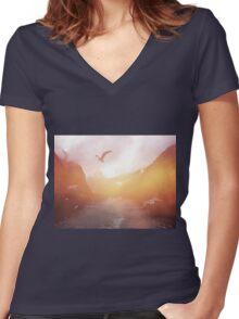 Landscape 04 Women's Fitted V-Neck T-Shirt