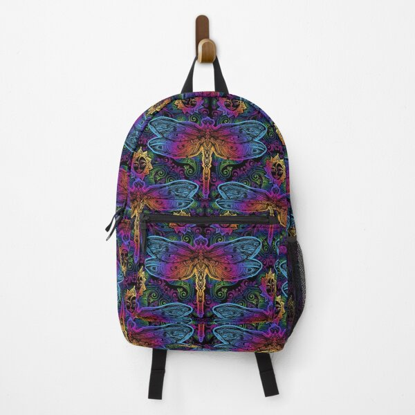 Dragon Psychedelic Dragonflies Lotus Plant Pattern Backpack