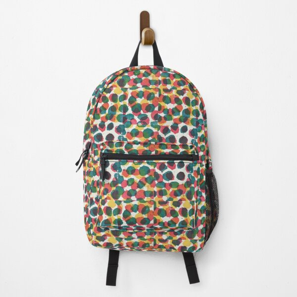 Polka Blotch Dot Hand Stamped Pattern - Yellow Hot Pink Teal Backpack