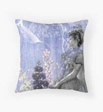 Lavender Purple Victorian Flowers Bride Woman Throw Pillow