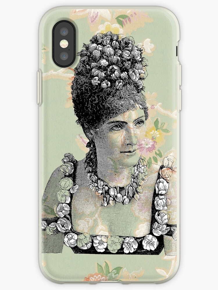 Victorian Steampunk Lady Peach Green Flowers by designsbycclair