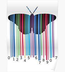 Butterfly with codebars and numbers Poster
