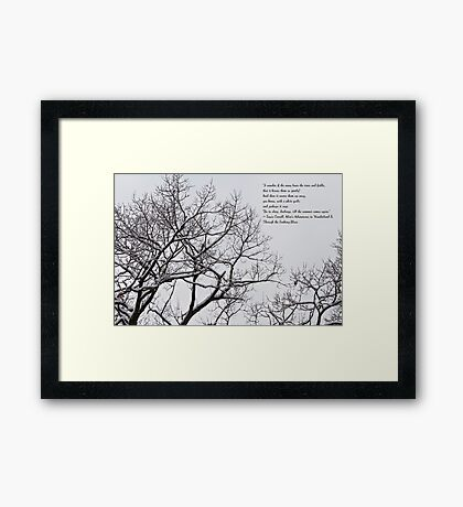 Snow In The Woods - Lewis Carroll Quotation Framed Print