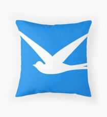 Sweet Swallow in the Blue Sky Throw Pillow