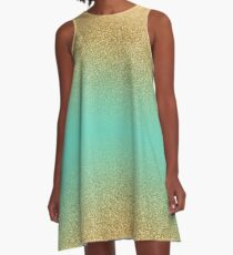 Gold Glitter Aqua Gradient A-Line Dress