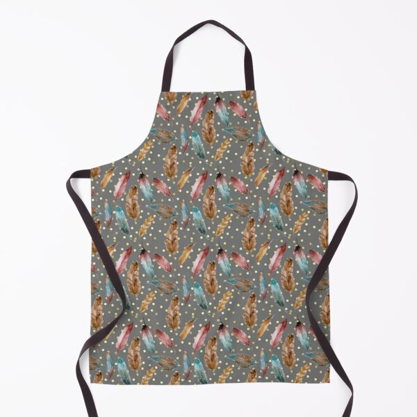 Watercolor feather and golden sprinkles pattern grey background Apron