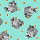 Roses and Dots in Mint by sandra arduini