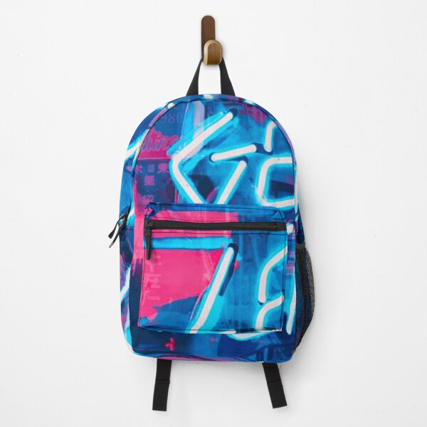 Let's Get Weird - Trippy Neon Sign Bright UV Blue Glow in the Dark Graffiti Backpack