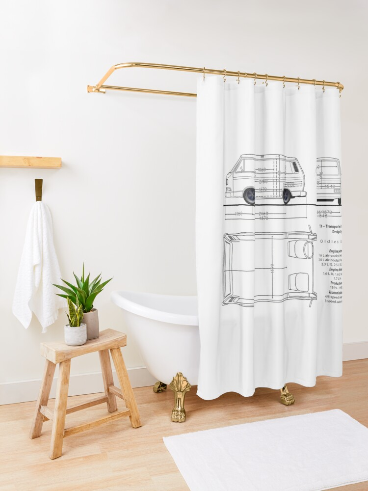 Alternate view of T3 aircooled combi Shower Curtain