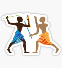 Nubians Playing Singlestick | Color Sticker