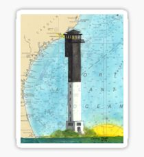 Sullivans Island Lighthouse SC Nautical Map Peek Sticker