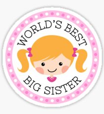 World's best big sister, round sticker with blond cartoon girl Sticker