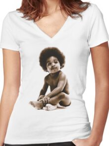-MUSIC- Notorious Big Baby's Cover Women's Fitted V-Neck T-Shirt