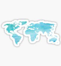 Blue Watercolor World Sticker